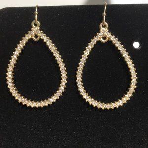 Jewelry - Gold hoop earrings with diamond like stones